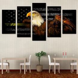 2019 arte da bandeira 5 Pçs / set Emoldurado HD Impresso Liberdade Americana Eagle Flag Imagem Arte Da Parede Da Lona Impressão Cartaz Arte Moderna Da Lona Pintura A Óleo arte da bandeira barato