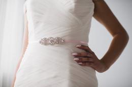 Wholesale Ivory Rhinestone Belts - Ivory Bridal Belt for Wedding Dressess with Beaded Crystals and Pearls Rhinestone Belt for Bridal Gown Evening Dress Bridemaid Dress