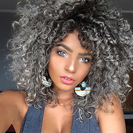 Wholesale Capless Wigs - Women Synthetic Capless Short Kinky Curly Afro Black African American Wig Black Mixed Grey Color Party Wig Celebrity Wig Halloween