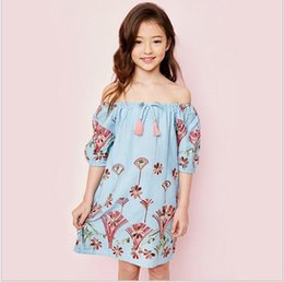 Wholesale Denim Shirt Dress Girls - Big Baby Girls Denim Tassel Shirt Dresses Junior Embroidered Floral Dress Teenager Spring Summer Casual Dress 2017 Childrens clothing
