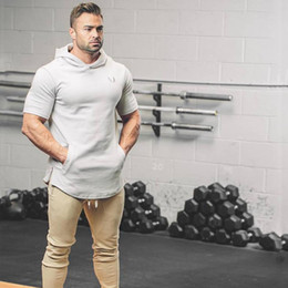 Wholesale Topcoat Hoodie - Wholesale- Crossfit Mens pullover Fashion leisure fitness Short sleeve Hoodies jackets Sweatshirts Bodybuilding sportswear topcoat