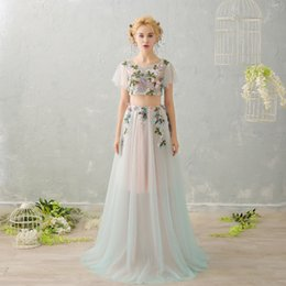Wholesale Fresh Piece - SSYFashion 2017 New Luxury High-end Evening Dress Light Green Two Pieces Fresh Flower Fairy Sweet Beading Prom Party Gown Custom