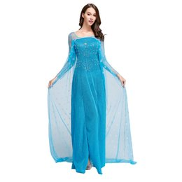 Wholesale Wholesale Woman Princess Dress - Frozen Dresses Adult Girls Princess Elsa Cosplay Dresses Lace Long Sleeve with Bling Accessories Long Gauze Blue Christmas Theme Costume