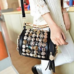 Wholesale Red Skull Clutch - Wholesale-Rhinestone Skull buttons pillow bucket PU Handbag women Shoulder Bag chain clutch handbag bags handbags evening purse