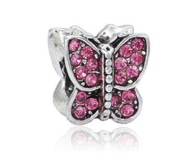 Wholesale Flat Butterfly - Fits Pandora Bracelets 10pcs Cherry Red Crystal Butterfly Silver Charm Beads Charms For Wholesale Diy European Necklace Snake Chain Bracelet