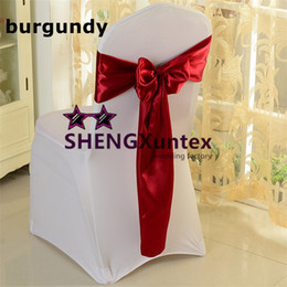 Wholesale Satin Bows For Chairs - 100pcs Burgundy Color Satin Chair Sash \ Chair Bow Used For Wedding Chair Cover