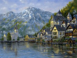 Wholesale Mountain Kits - New diy diamond painting cross stitch kits resin pasted painting full round drill needlework Mosaic Home Decor scenery mountain lake YY0008