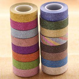1.5CM / 10M Glitter Washi Sticky Paper Masking Adhesive Tape Label DIY Craft Decorativo Libre de envío 2016 desde fabricantes