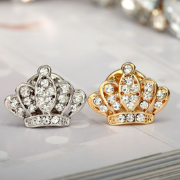 Wholesale Shirts Rhinestones For Women - Wholesale- 2015 New Hot Summer Style Brooch Jewelry Full Rhinestone Crystal Brooches Pins For Women Inlay Crystal Crown Shirt Collar Brooch