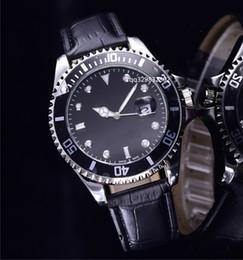 Wholesale Crazy Sales - Fashion crazy sale black case alloy metal watch luxury famous Brand quartz faux leather replicas chrono date cheap automatic mens clocks