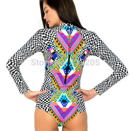 Wholesale Women Sexy One Piece Swimsuits - New Plaid Print Sexy Long Sleeve Women One piece Swimwear Lady Monokini Bathing Suit Zipper Design High Waist Triangle Swimsuit