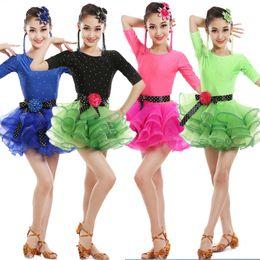 Wholesale Latin Dance Dress Women Salsa - Girls Sequined Latin dancing dress Kids Party Ballroom dancewear costumes Outfits Children professional Skating Salsa Latin Dance dress