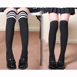 Wholesale Japanese Over Knee Socks - Wholesale- Good Quality Women High Over The Knee Socks Thigh High Stockings Opaque Warm Japanese School Student Black Stripe Long Sock