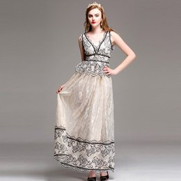 Wholesale Vneck Sleeveless Line Dress - Women Floor Length Party Dress 2017 Summer Fashion Runway Long Maxi Dress Elegant VNeck Color Block Eyelash Lace Dress XXL