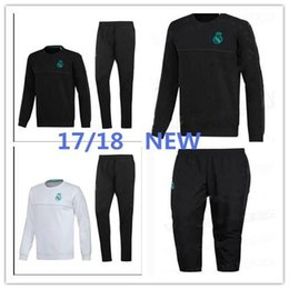 Wholesale Ronaldo Sporting - 17 18Top Thailand soccer tracksuit ronaldo ISCO BALE long sleeve Training suit pants football training clothes sports wear mens Sweater