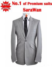 Wholesale Grey Bespoke Tuxedo - Wholesale- Custom Made To Measure Tailored Men's Bespoke Suit Grey Suits With Double Siding Flap Pocket Tailored Tuxedo ( Jacket+pants)
