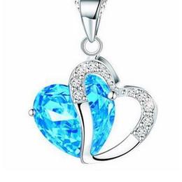 Wholesale Focusing Slide - Focus Fashion Women Heart Crystal Rhinestone Silver Chain Pendant Necklace Jewelry
