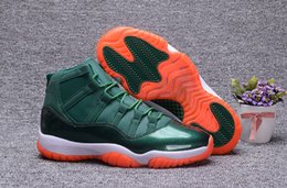Wholesale Free Shoe Laces - Free Shipping 2017 Air 11 Miami hurricanes Basketball shoes air 11s Green Orange Sneakers Size us 7 - 13 Come With Box