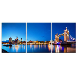 Wholesale Paintings Cityscapes - 3 Panels HD Printed Tower Bridge Photo Canvas Prints Cityscape Night Scene of City Giclee Printing on Canvas SJMT1891