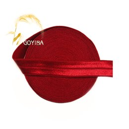 "Wholesale Wholesale Sewing Notions - Wholesale- GOYIBA 5 Yard 5 8"" 1.5cm Red Solid FOE Foldover Elastics Spandex Satin Baby Hairband Headband Lace Trims Sewing Notions MR012403"