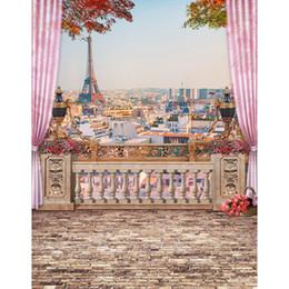 Wholesale Print Backgrounds - 5x7ft Vinyl Retro Eiffel Tower Paris Balcony Photography Studio Backdrop Background