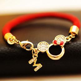 Wholesale Threaded Chain Bracelet - Free Shipping New Pierced Mickey Head Red String Bracelets Lovers Natal Lucky Red Thread Bracelet Women Jewelry Charm Bracelet
