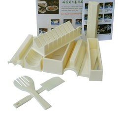 Wholesale Easy Rice - Full Set Multifunction New DIY Easy Sushi Maker Machine Kit Rice Roller Mold Roller Cutter Kitchen Cooking Tools Set ZA1884
