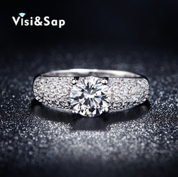 Wholesale Vintage Ring Gold Red - Visisap White Gold color Wedding rings For Women AAA cubic zirconia size 5-10 vintage Engagement anel fashion jewelry VSR024