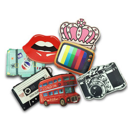 Wholesale Bus Tv - 2017 Creative Cute Cartoon Coin Purse Key Chain Girl Leather Bus Camera Smile Crown TV Lipstick Zipper Change Wallet Card Holder