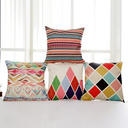 """Wholesale Blue Pillow Covers 18 - 3D Colorful Geometric Throw Pillow Covers Superior Linen Decorative Pillowcase Sofa Bed Car Back Waist Cushion Covers 18"""" X 18"""""""
