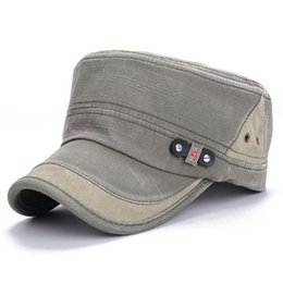 Wholesale Hat Retro Vintage - Plain Cotton Military Outdoor Sports Hats Inside For Mens Womens Summer Sun Caps Cadet Army Military Flat Vintage Retro Caps Hats