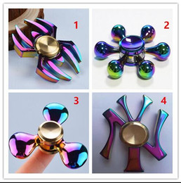 Wholesale Factory Direct Movies - Newest NY Rainbow Fidget Spinner Factory Direct Sales Colorful EDC Gyro Toys Hand Spinner Fidget Aluminum Fidget HandSpinner With Retail Box