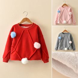 Wholesale Baby Jumper Winter - Newborn Baby Kids Girls Infant Warm Long Sleeve Pompoms Sweatshirt Tops Pullover 3 Colour 5 Size