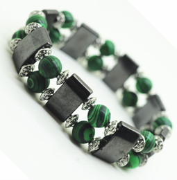 Wholesale Malachite Men - Magnetic Hematite Health Bracelet for women Men Black Magnetite Malachite Power Crystal healing Bangle