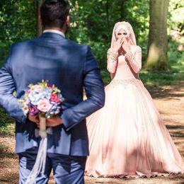 Wholesale Collar Neck Wedding Dresses - 2017 Muslim Lace Ball Gown Wedding Dresses Custom Made Plus Size Long Sleeves High Neck Beaded Collar Dubai Arabic Mideast Bridal Gowns