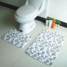Wholesale Floral Bath Mats - Wholesale-2pcs set PVC Mesh Thicken Coral Fleece Floor Bath Mats Set Non Slip Bathroom Toliet Rugs 40*50+50*80cm Water Absorption Carpet