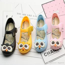 Wholesale Sandals Rain - 4 color Girls Jelly Sandals 2017 kids Cartoon Owl sandals jelly shoes Satin bow PVC soft outsole children sandals Rain shoes 15-18cm