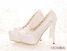Wholesale Pierced Platform - 2017 free shipping White Elegant Fashion Pierced Diamond Bow Bridal High Heeled Pumps Platform Stilettos Lace Wedding Shoes