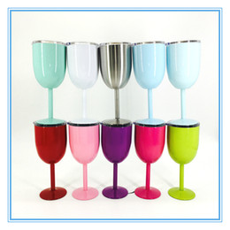 Wholesale Wall Glass China - 10oz Stainless Steel Wine Glass 9 Color Double Wall Insulated Metal Goblet With Lid Rambler Colster Tumbler Red Wine cup