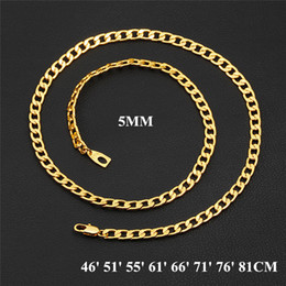 Wholesale Stamp Brass - Fashion Chains with 18k Stamp High Quality 18K Yellow Gold Filled 5MM Men Women Jewelry Chain Necklace 46cm -81cm JNL1019