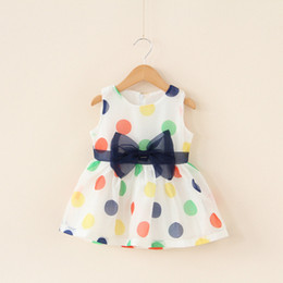 Wholesale Wholesalers For Childrens Clothing - INS White Dot Sleeveless Dress Baby Girls Bow Tie Clothing European Root Yarn Dresses Childrens Dresses For Kids Free Shippping