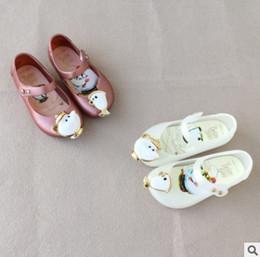 Wholesale Kids Girl Shoes Sandals - Melissa jelly sandals children Beast teapot Sandals children cartoon printed soft bottom shoes Baby kids fragrance sandals R0904
