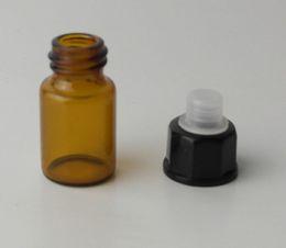 Wholesale Free Samples Perfume - NEW 2ml (5 8 dram) Amber Glass Essential Oil Bottle perfume sample tubes Bottles free shipping GLO1698