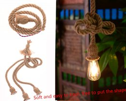 Wholesale Long Led Lamp - No light bulb The diameter of 18mm (1m long) vintage pendant pendant loft hand woven rope rope lamp decorative lamp