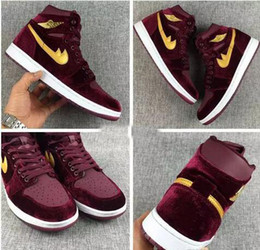 Wholesale Eur 43 - 2017 Retro 1 Basketball Shoes For Men,Red velvet High Quality Sport Shoes Cheap Retros 1s Mens Athletic Trainers Sneakers Eur 36-43