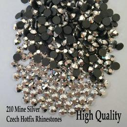 Wholesale Rhinestones Wholesale Different Sizes - Super Shiny 210 Mine Silver Flatback Czech Hotfix Rhinestones SS6-SS30 Different Sizes Iron On Hotfix Rhinestones