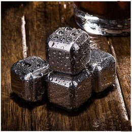 Wholesale Stainless Steel Ice Cubes Glacier - 5hc2 Stainless Steel Frozen Ice Blocks Cubes Safety Whiskey Stones Keep Wine Texture Glacier Cooler Stone Practical Soapstone For Drinking