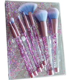 Wholesale Wholesale Crystal Cosmetic Brushes - 7 pcs a set Unicorn Mermaid Makeup Brush Crystal Liquid Handle Cosmetics Brushes Powder Eyeshadow Foundation Make up Tool with pretty pack