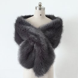 Wholesale Grey Fur Bolero - 65x13 inches Cheap Dark Grey Faux Fur Winter Bridal Wrap Wedding Evening Prom Party Shrug Shawl Cape Bolero Free Size