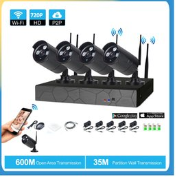 Wholesale Wireless Cctv Pc Kit - 4CH Wireless NVR 720P IR outdoor P2P WIFI 4 PCS 1.0MP CCTV Security Camera System Surveillance Kit